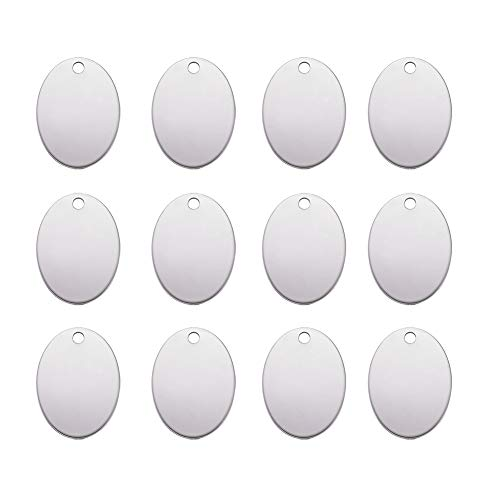 (Pandahall 10pcs Unfading Stainless Steel Blank Stamping Tag Pendants Oval Shape 1.18x0.86 inch Metal Tag Charms)