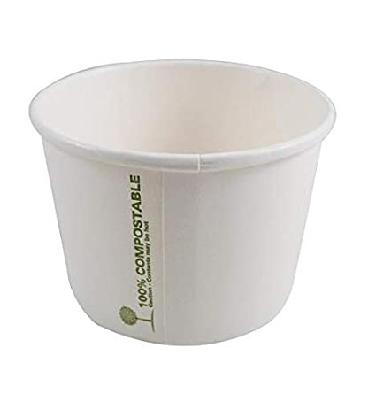50 SETS, 8oz, 230ml Frozen Yogurt Dessert Cups Ice Cream Take out Hot//Cold Food - Biodegradable Paper Soup Cup 100/% Organic Disposable Deli 8oz Compostable Soup Containers with Lids