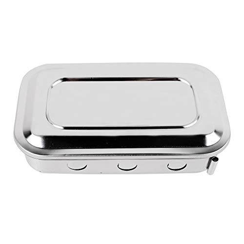 Ovovo Stainless Steel Sterilizer Tray Box Square Dish with Lid Storage & Sterilization Box Nail Art Tool Disinfection Container