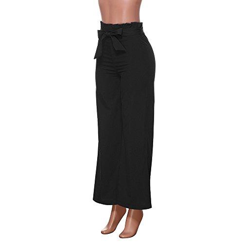 Coton Couleur Unie Haute Pour Décontra Casual Noir Jambes Pantalon Harlan Taille Loose Solide Pantalons Femmes Large Larges Amuster En qvw1gEn