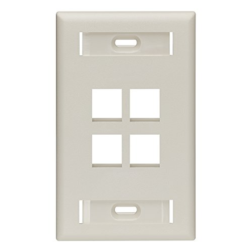 (Leviton 42080-4TS QuickPort Wallplate with Id Window, Single Gang, 4-Port, Light Almond)