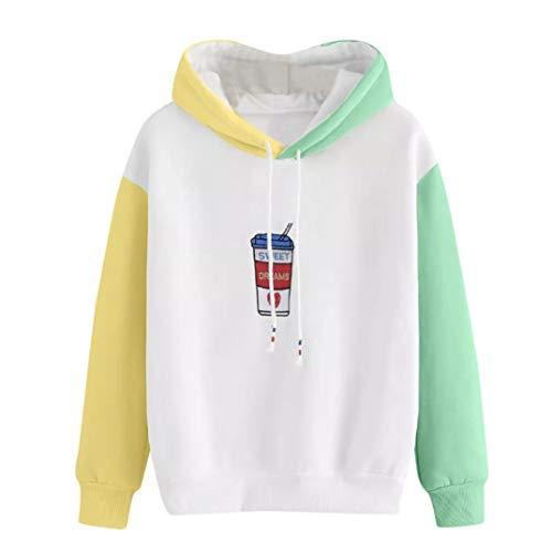 MODOQO Women's Long Sleeve Hoodie Sweatshirt Casual Patchwork Pullover Tops S-XL by MODOQO