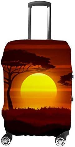 スーツケースカバー トラベルケース 荷物カバー 弾性素材 傷を防ぐ ほこりや汚れを防ぐ 個性 出張 男性と女性アフリカの夕日、サバンナの風景