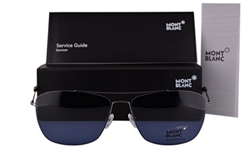 Mont Blanc MB594S Sunglasses Shiny Anthracite w/Blue Lens 08V MB - Hut Sunglass France