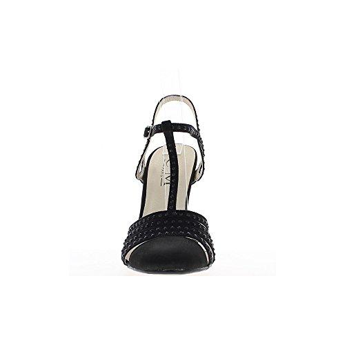 11cm aspecto satinado y talón del rhinestone negro sandalias
