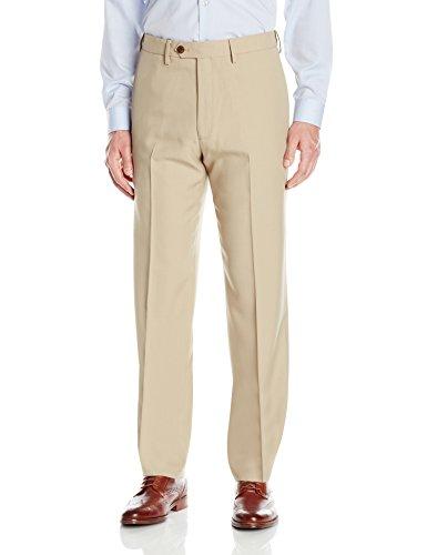Haggar Men's eCLo Stria Expandable-Waist Plain-Front Dress Pant, Sand, ()