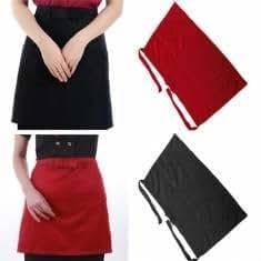 Cotton Short Half Waist Apron Home Kitchen Aprons With Pockets
