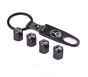 4pcs /Mercedes-Benz Car Tire Tyre Wheel Air Cap Key Chain Metal Badge Sticker