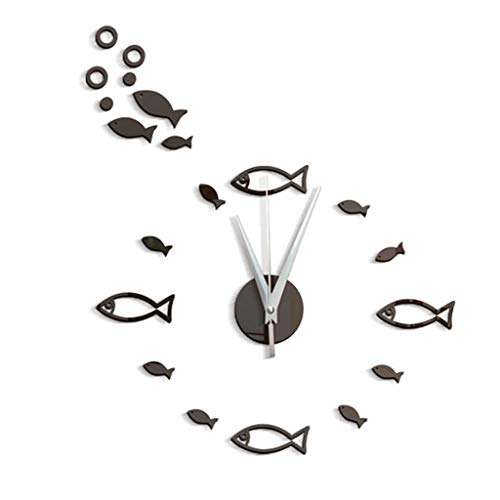 charmsamx Wall Clock, Silent Non-Ticking Wall Clocks, 3D Small Fish Bubble Stereo Acrylic Mirror Sticker, Art Painting Home Office School Decor Battery Operated Clock for Home Decor (Black, ()