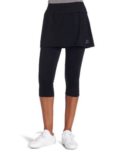 Skirt Sports Women's Lotta Breeze Capri Skirt - Skirt with Moisture-Wicking Capri Leggings, Black, L (Breeze Skirt)