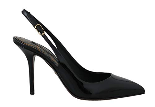 Dolce & Gabbana Black Leather Slingbacks Heels