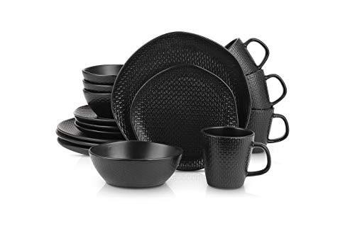 Stone Lain 16 Piece Stoneware Round Weave Dinnerware Set, Service for 4, Black