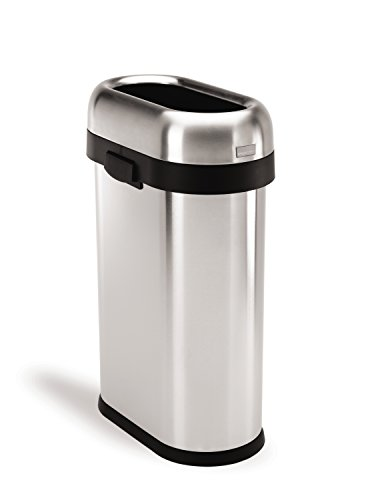 simplehuman Slim Open Trash Can, Commercial Grade, Stainless Steel, 50 L / 13 Gal (Slim Trash Can With Lid 13 Gallon compare prices)