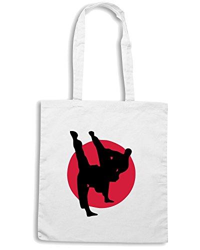 T-Shirtshock - Bolsa para la compra TBOXE0029 Martial arts Karate Kick Boxing Judo Taekwondo Blanco