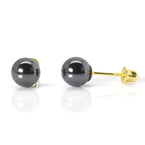 14k Yellow Gold Safety Screw Back Earrings 6mm Natural Hematite (Earrings Hematite Stud)