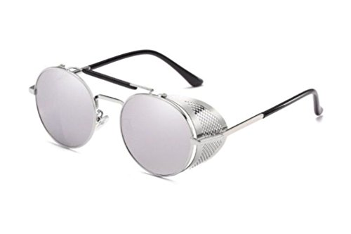 Round Accessory Glass Shield - Flowertree STY056 Metal Frame Mesh Fold-in Side Shield Round 52mm Sunglasses (C7-silver+silver, 0)