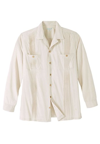 & Tall Long-Sleeve Guayabera Shirt, Stone Big-4Xl (Pintucked Button Front Shirt)