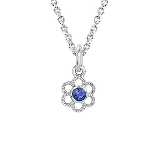 Diminuettes Sterling Silver Children's Swarovski Blue Sapphire September Birthstone Flower Pendant by Diminuettes