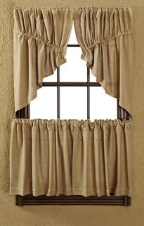 Burlap Natural Prairie Swag Window Treatments, Set of 2
