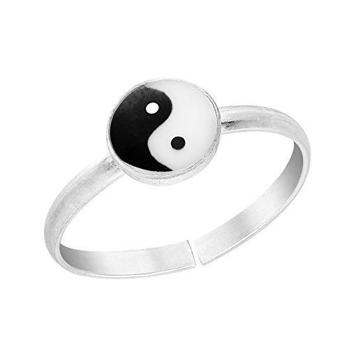 AeraVida Cute Yin Yang Balance .925 Sterling Silver Toe Ring or Pinky Ring