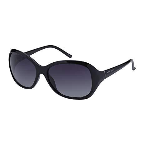 Little Devil Vogue Oversized Polarized Sunglasses for Women TR90 Frame 100% UV Protection Sun Eye Glasses, Gloss Black Frame Gray Gradient Lens ()