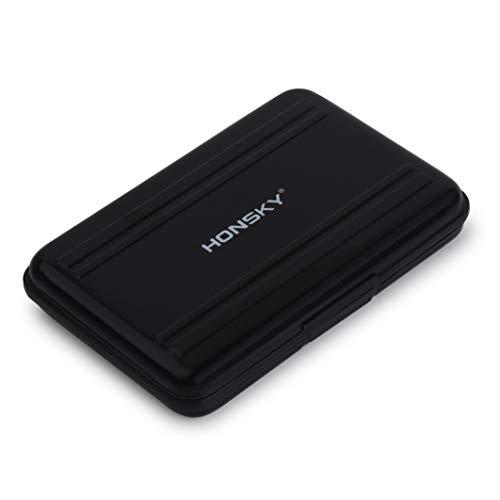 Honsky Aluminum UHS-I SD Micro SD SDHC SDXC TF SecureDigital Memory Card Carrying Case Holder Organizer Box Keeper for Computer Camera Media Storage Organization, Black