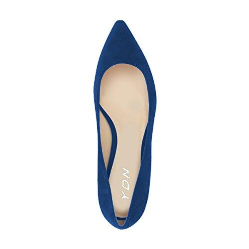 Femmes Ydn Appartements Bout Pointu Classique En Daim Chaussures De Sport Slip Taille Basse Sur Bleu Doux