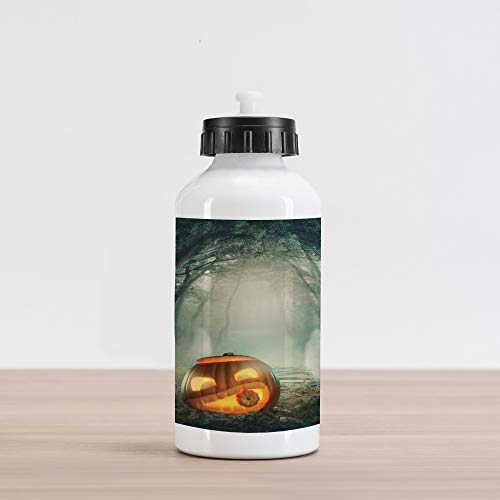(Ambesonne Halloween Aluminum Water Bottle, Drawing of Scary Halloween Pumpkin Enchanted Forest Mystic Twilight Party Art, Aluminum Insulated Spill-Proof Travel Sports Water Bottle, Orange)