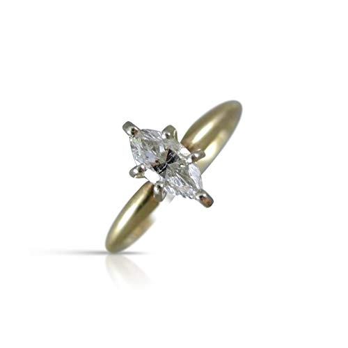 - Milano Jewelers .30CT Marquise Cut Diamond 14KT 2 Tone Gold 3D Solitaire Engagement Ring