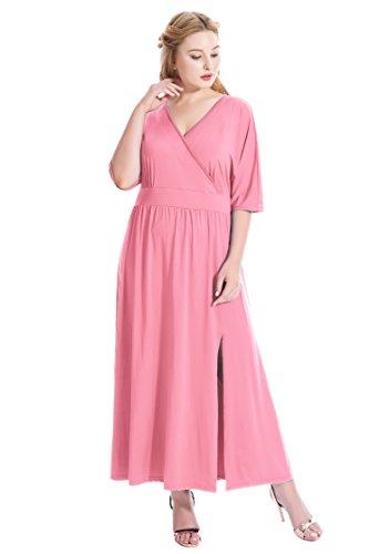 V-Neck Ruched Waist Dress - 1