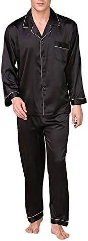パジャマ CHJMJP メンズステインシルクパジャマセットの男性パジャマシルクパジャマ男性モダンなスタイルのソフトコージーサテンナイトガウン (Color : Black With Rope, Size : XL)