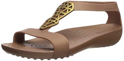 Crocs Women's Serena Embellish Sandal Flat Bronze, 7 M US