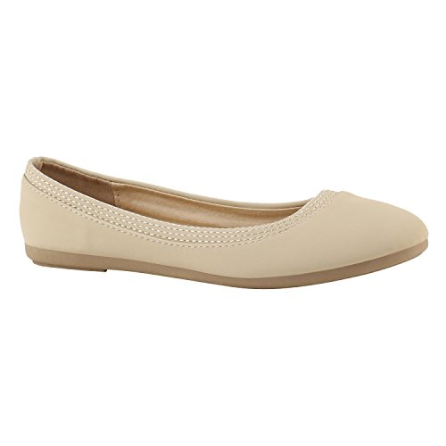 Stiefelparadies Klassische Damen Ballerinas Slippers Flats Übergrößen Flache Schuhe Metallic Spitze Glitzer Abendschuhe Flandell Creme Avelar