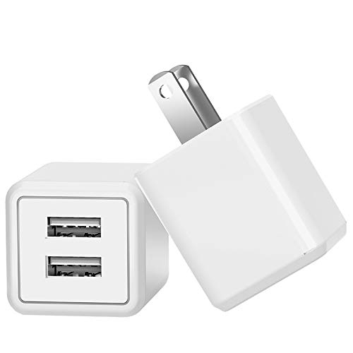 USB Wall Charger,Dual USB Travel AC Adapter Portable Rapid Charger Block Power Plug Fast Charging Compatible iPhone X/8/7/6S/6 Plus,Samsung Galaxy S9/S8/S7 Edge,HTC,Nexus,Moto,BlackBerry(2-Pack)