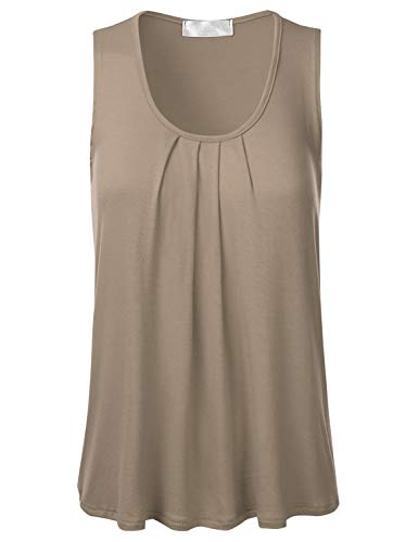 FLORIA Womens Round Neck Pleated Front Sleeveless Stretchy Blouse Tank Top Khaki M (Shell Womens Sleeveless)
