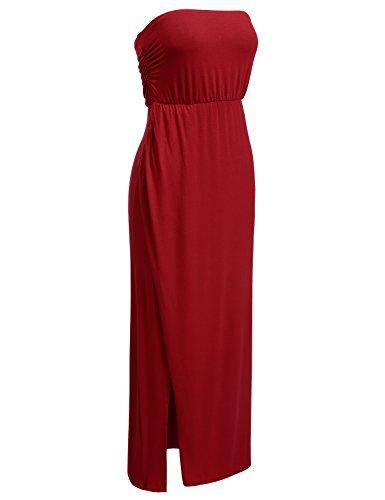 DRESSIS Womens Strapless Side Slit Maxi Tube Dress