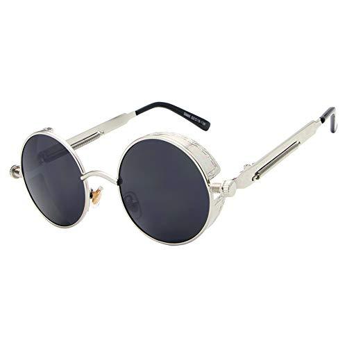 Sol Gafas con Grey Mujer Recubrimiento Redondo Gafas Oro Silver De Espejo para Gafas Hombre Sol Unisex Sol De Steampunk De FKSW Gafas Negro De 7gTxPqt