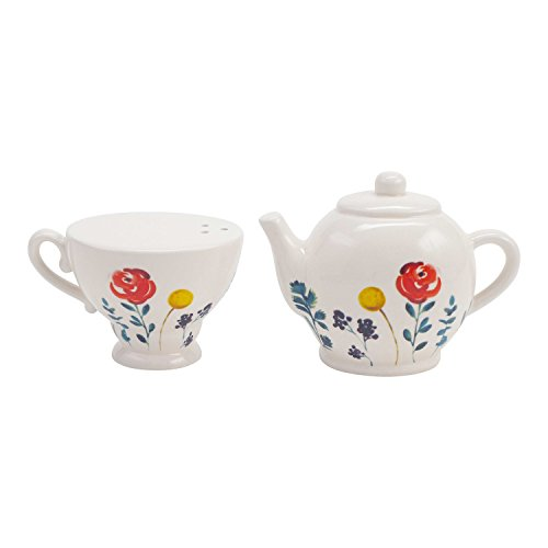 Hallmark Home Tea Pot and Tea Cup Salt and Pepper Shaker Set, Set of 2 Coordinating Shakers, Teapot and Tea Cup with Floral Accens