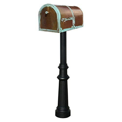 Old Fashioned Fluted (Qualarc MB-3000-PAT-HP800-BL Provincial Collection Mailbox and Flag with Decorative Fluted Base and Black Post, Antique Brass Patina, Ships in 2 boxes)