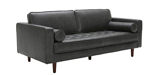 Rivet Aiden Tufted Mid-Century Modern Leather Bench Sectional Couch Sofa, 74'W, Cognac