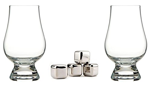 """[Hand Blown Sipping Whiskey Glasses Set of 2 with 4 Ice-Cube Shaped Chilling Stones 