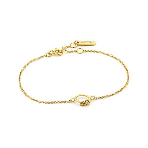 ANIA HAIE 925 Sterling Silver Boho Minimalist Circle Charm Bangle Bracelet for Women, 14K Gold Plated