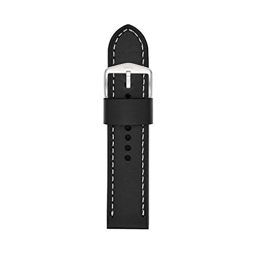 Fossil S241076 24mm Leather Calfskin Black Watch Strap (Fossil Watch Mm 22 Band)