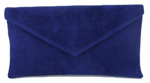 Daim Bleu Enveloppe Sac Main Pochette Marine À Faux qgxv6Xw