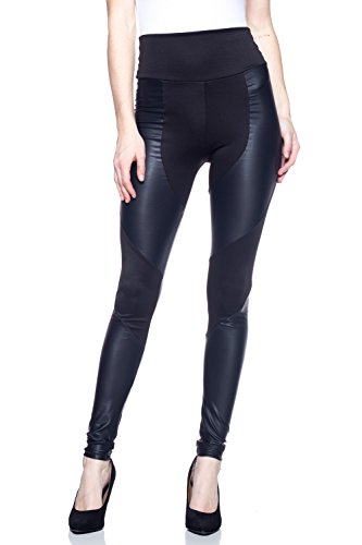 J2 LOVE Made in USA Faux Leather Insets Moto Legging (XS-5X)