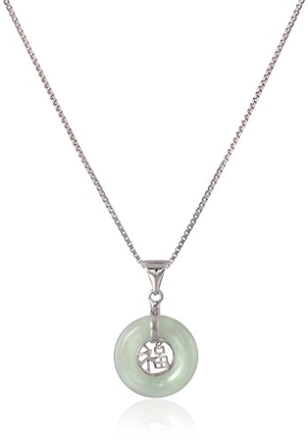 Genuine 925 Silver Jade Necklace (Sterling Silver Genuine Green Jade Good Fortune Pendant Necklace, 18
