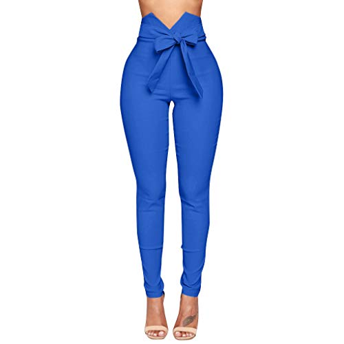 Women Summer High Waist Pants Sexy Bow Slim Simple Elastic Trousers