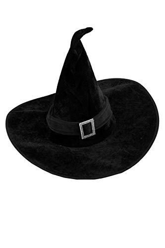 Halloween Witch Hat Black with a Rhinestone Buckle -