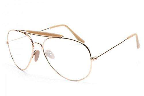 AStyles Classic Vintage Style Gold Black Silver Metal Frame Aviator Clear Lens Glasses Eyeglasses (GoldBrg, - Eyeglasses Style Aviator