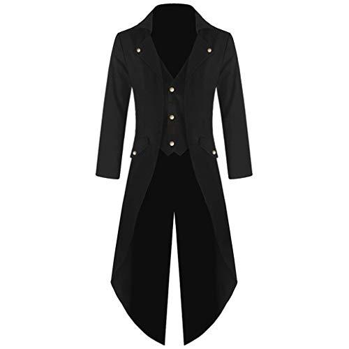 Goddessvan Mens Gothic Tailcoat Jacket Black Steampunk Victorian Coat Uniform (XXXL, Black-2)
